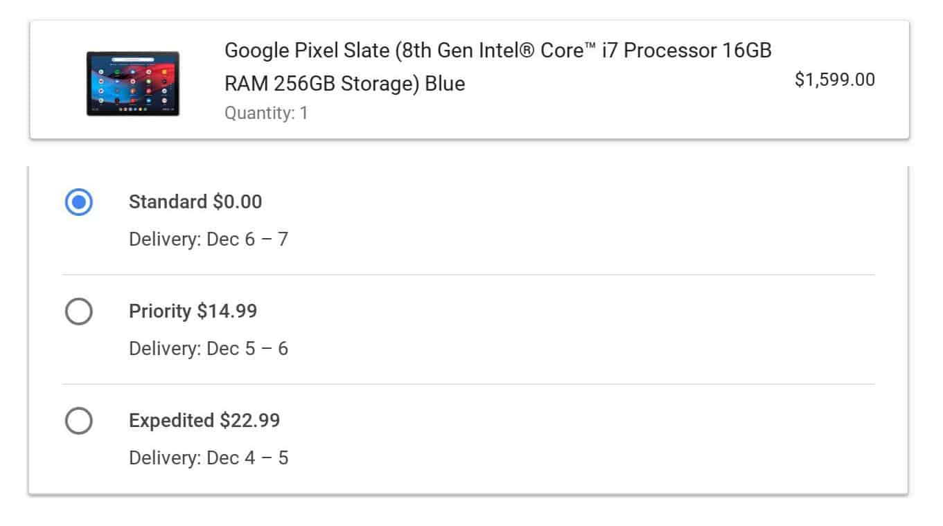 Pixel Slate Ship Date from Google Store 05
