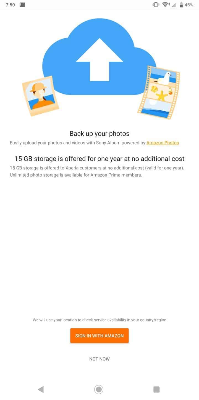 Sony Xperia XZ3 AH NS Amazon backup