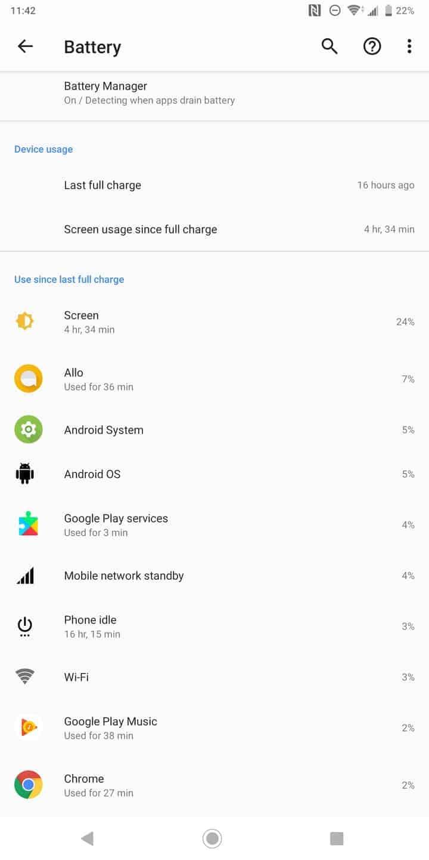 Sony Xperia XZ3 AH NS battery life