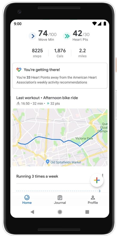 Google Fit Last Workout PRimg