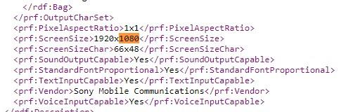 Sony Xperia XA3 UAProf 1