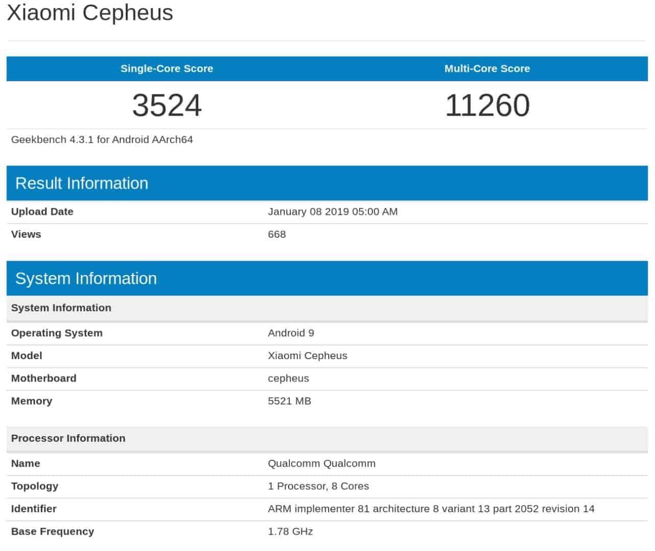Xiaomi Cepheus Leaked Benchmark