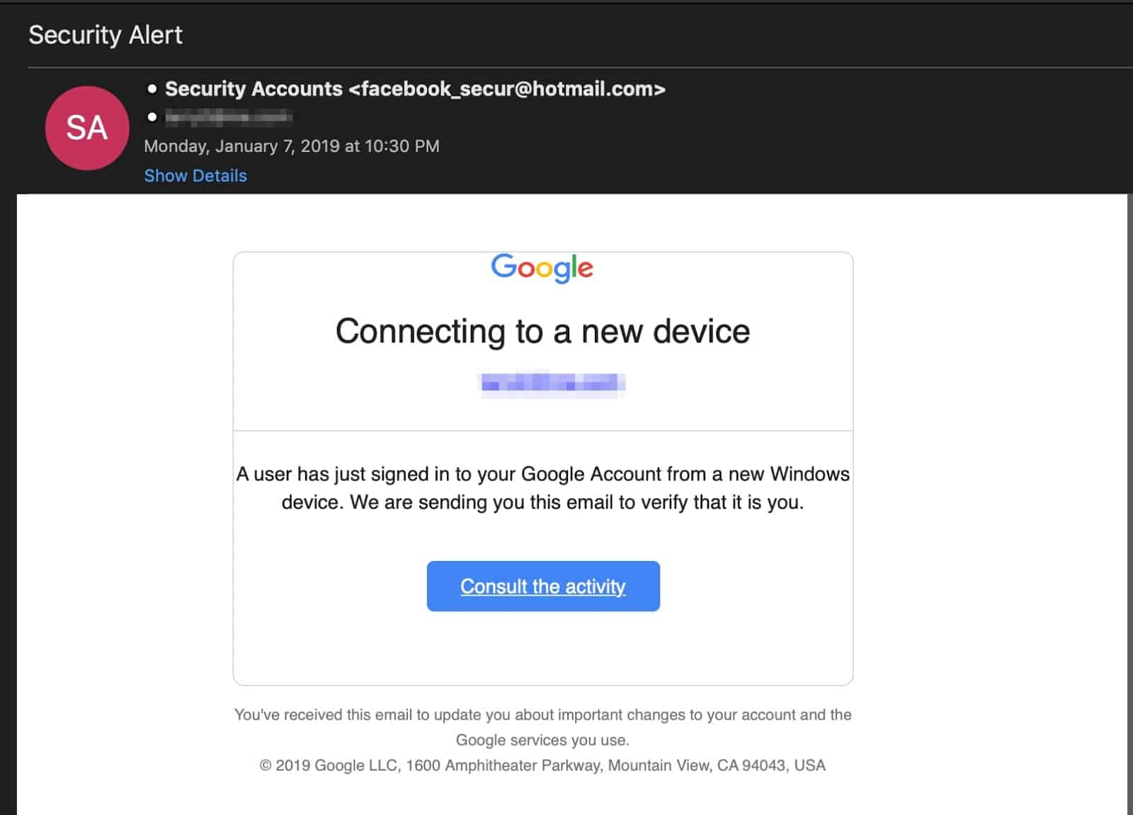 Google Phishing Attempt Feb 2019 1