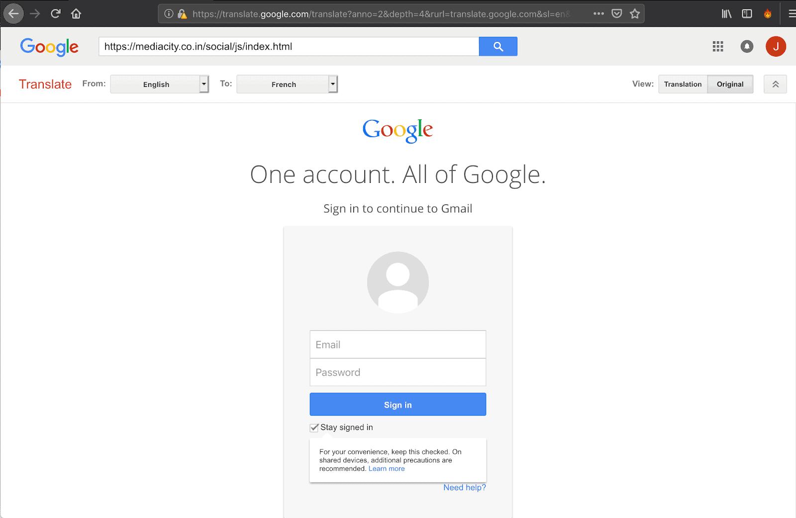 Google Phishing Attempt Feb 2019 2