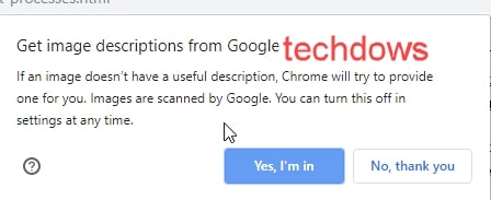 02 permit to sent images to Google for scanning from Techdows
