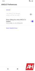 Android ANGLE Settings AH 1 of 2