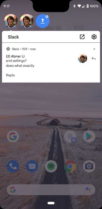 Android Q chat head bubble notifications 3 from 9to5Google