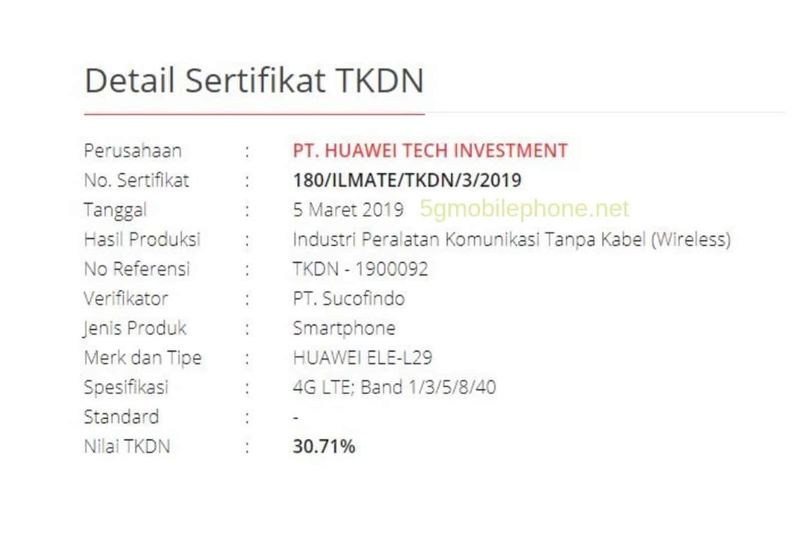 Huawei P30 Series Indonesia Aproval 1