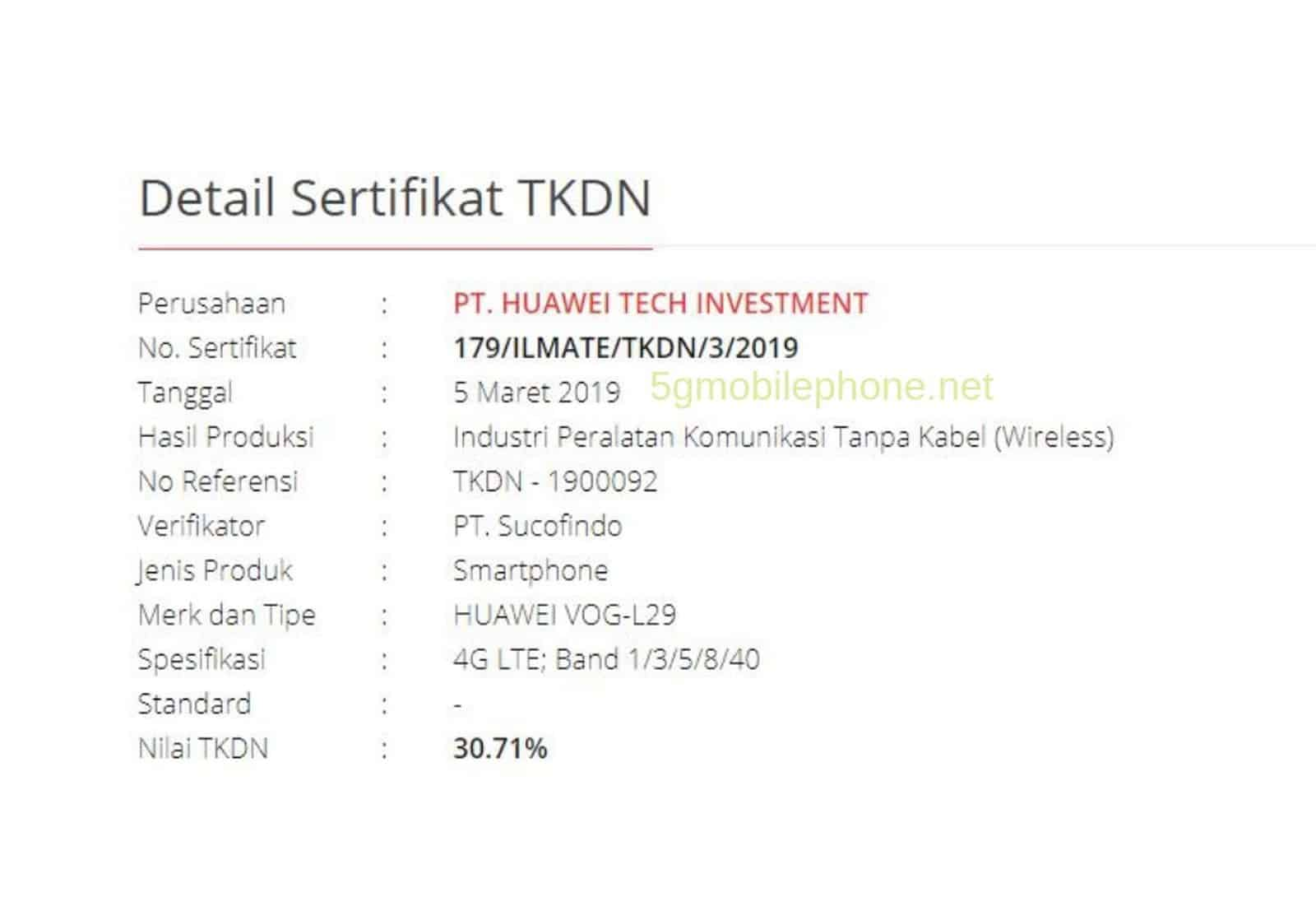 Huawei P30 Series Indonesia Aproval 2