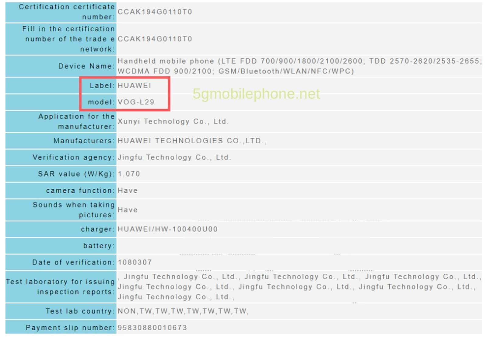 Huawei P30 Series Taiwan Approval 2