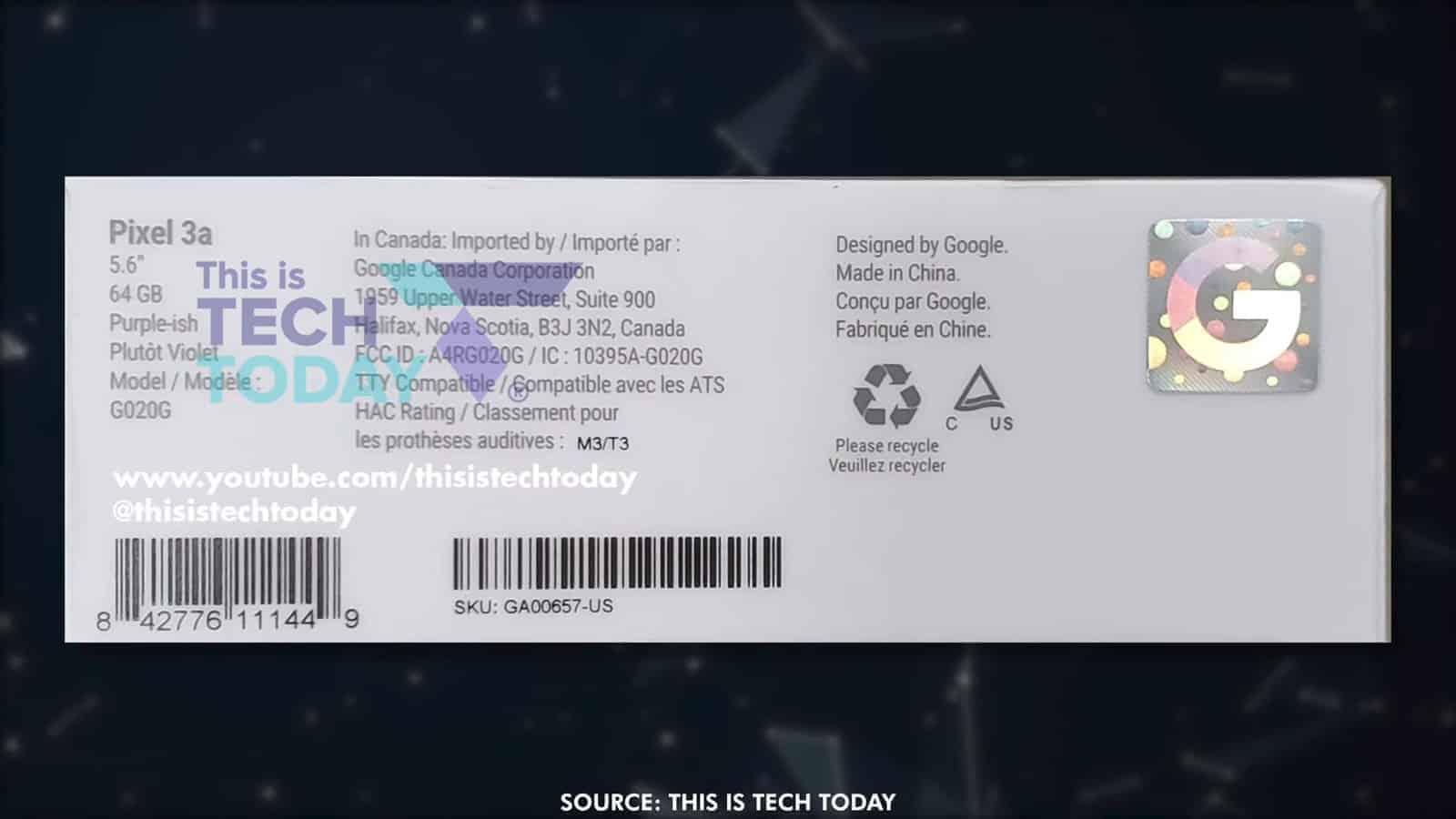 Google Pixel 3a packaging leak 2