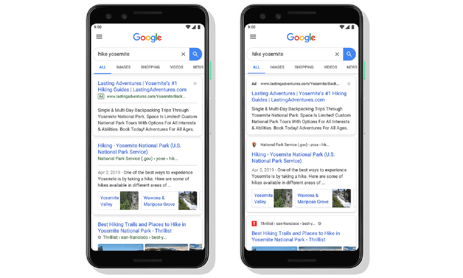 Google Search Redesign May 2019
