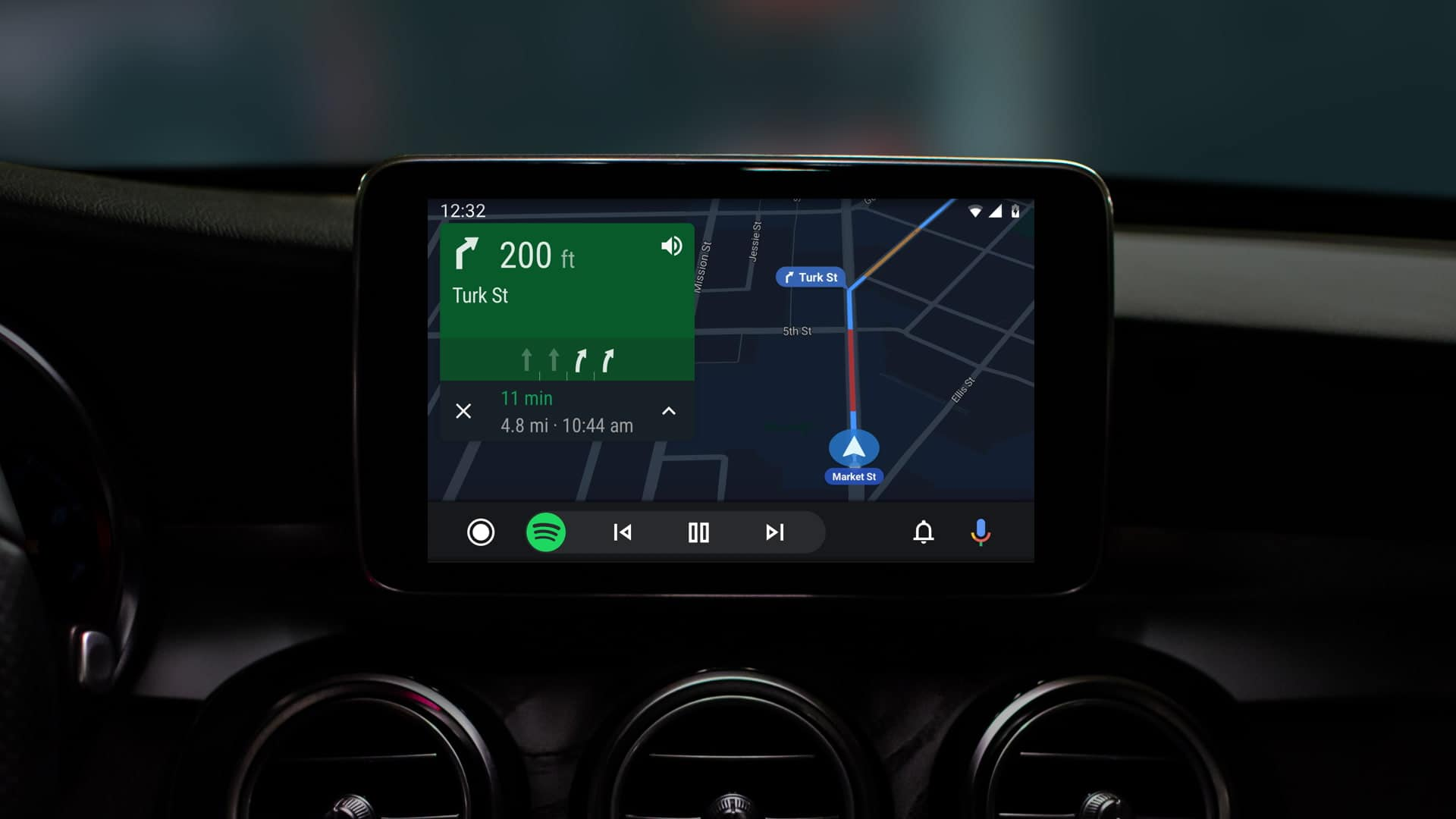 See turn by turn directions while controlling other apps on the same screen