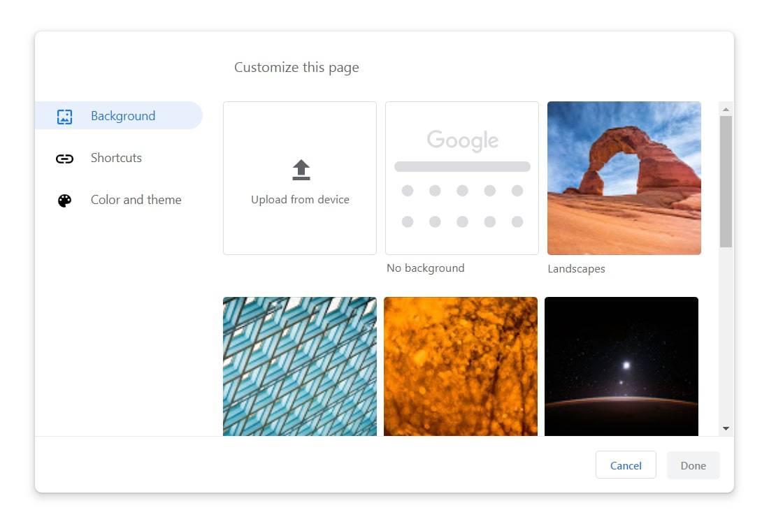 google chrome 77 customization backgrounds from Techdows