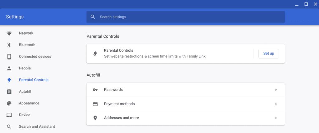 Chrome OS Parental Controls