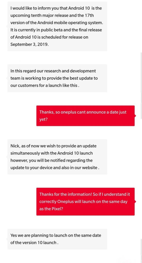 Android 10 coming to OnePlus devices on September 3