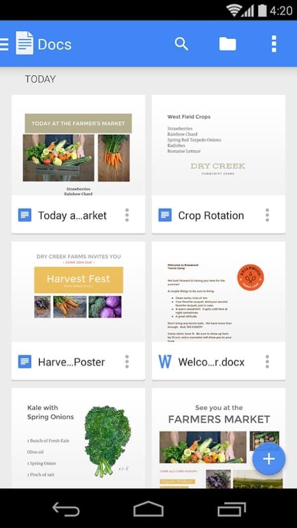 Google Docs app image August 2019