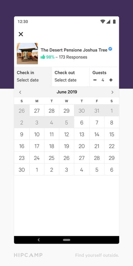 Hipcamp Single %E2%80%93 Calendar View