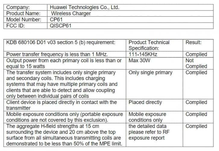 Huawei 30W wireless charger FCC 2
