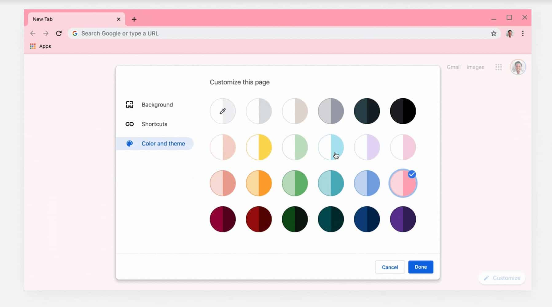 Chrome M77 Color and themes from Google