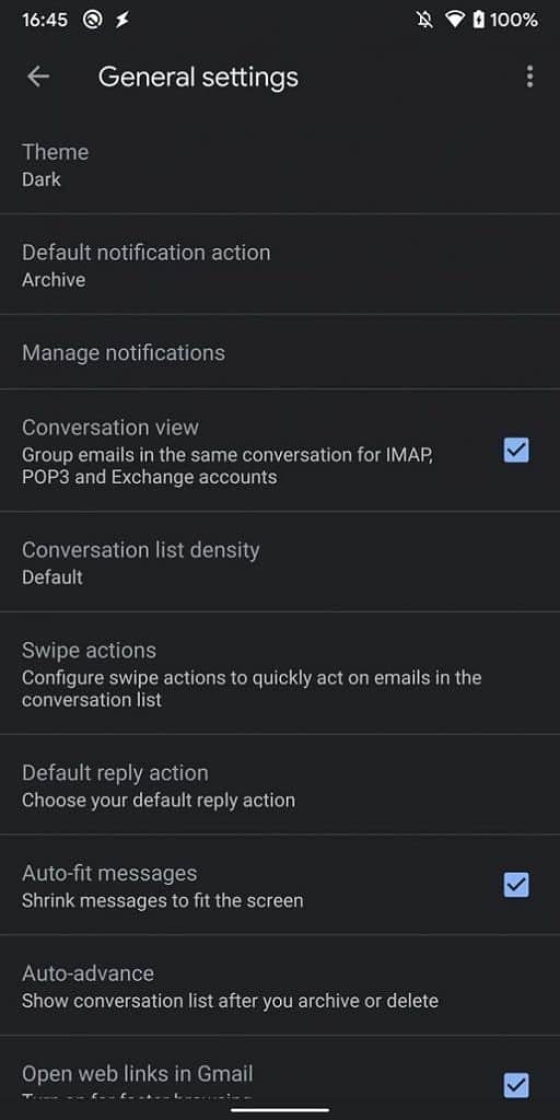 Gmail Android 10 dark theme XDA image 2