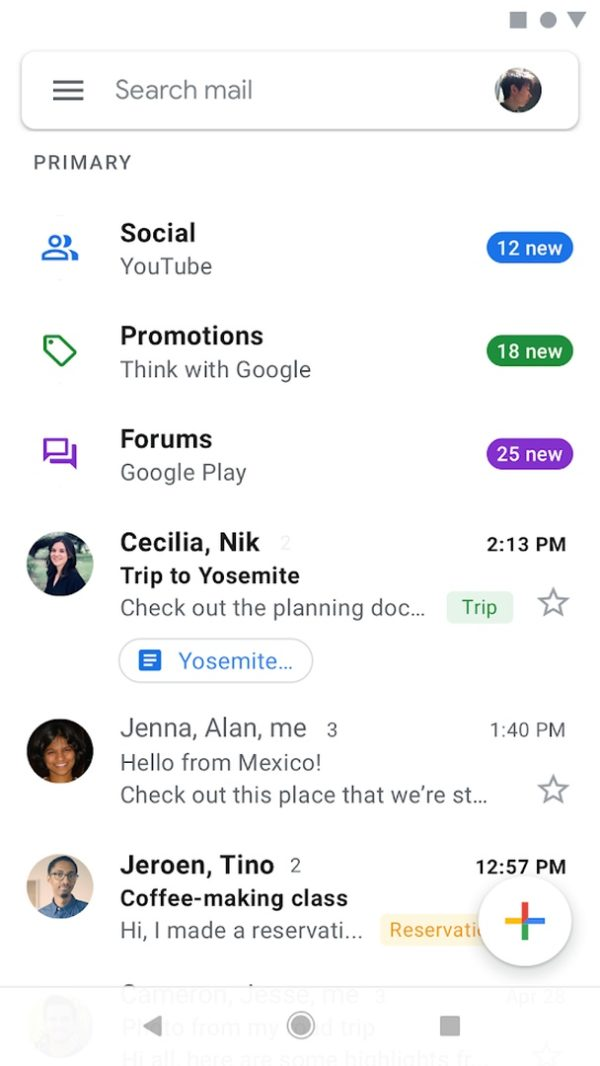 Gmail app image September 2019