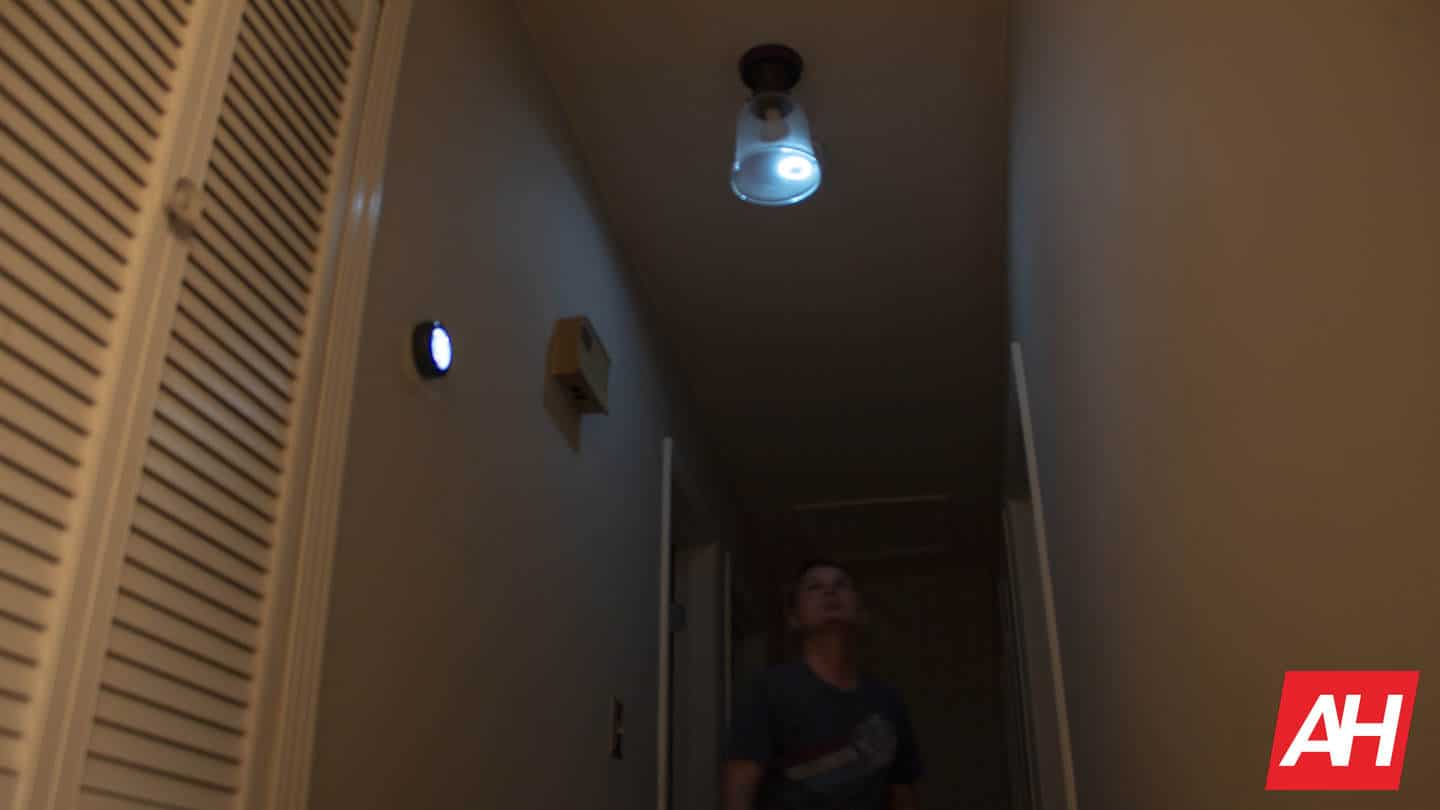 Google Nest Protect illuminating the dark hallway at night