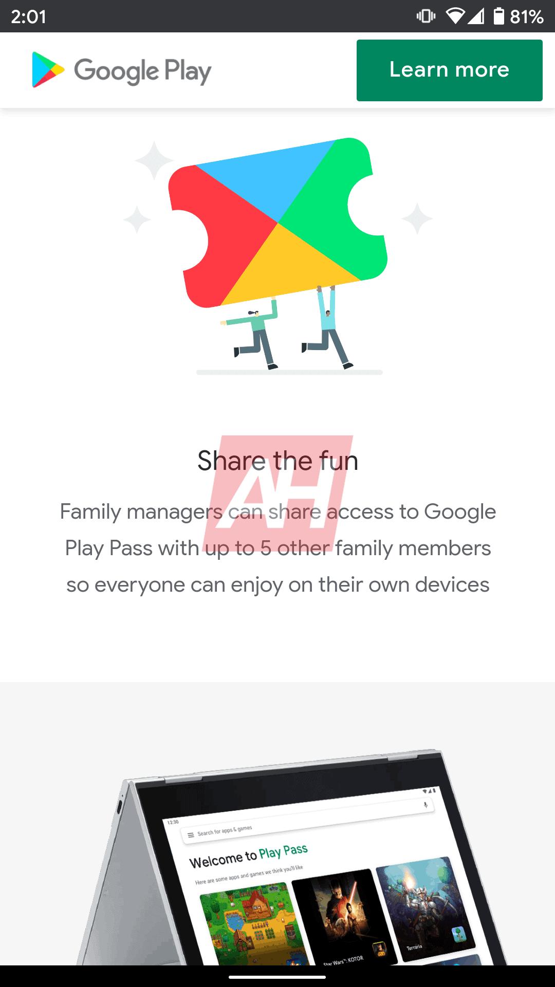 Play Pass Sharing