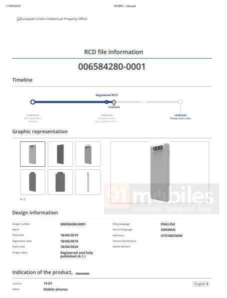 Huawei flip up camera design patent 1