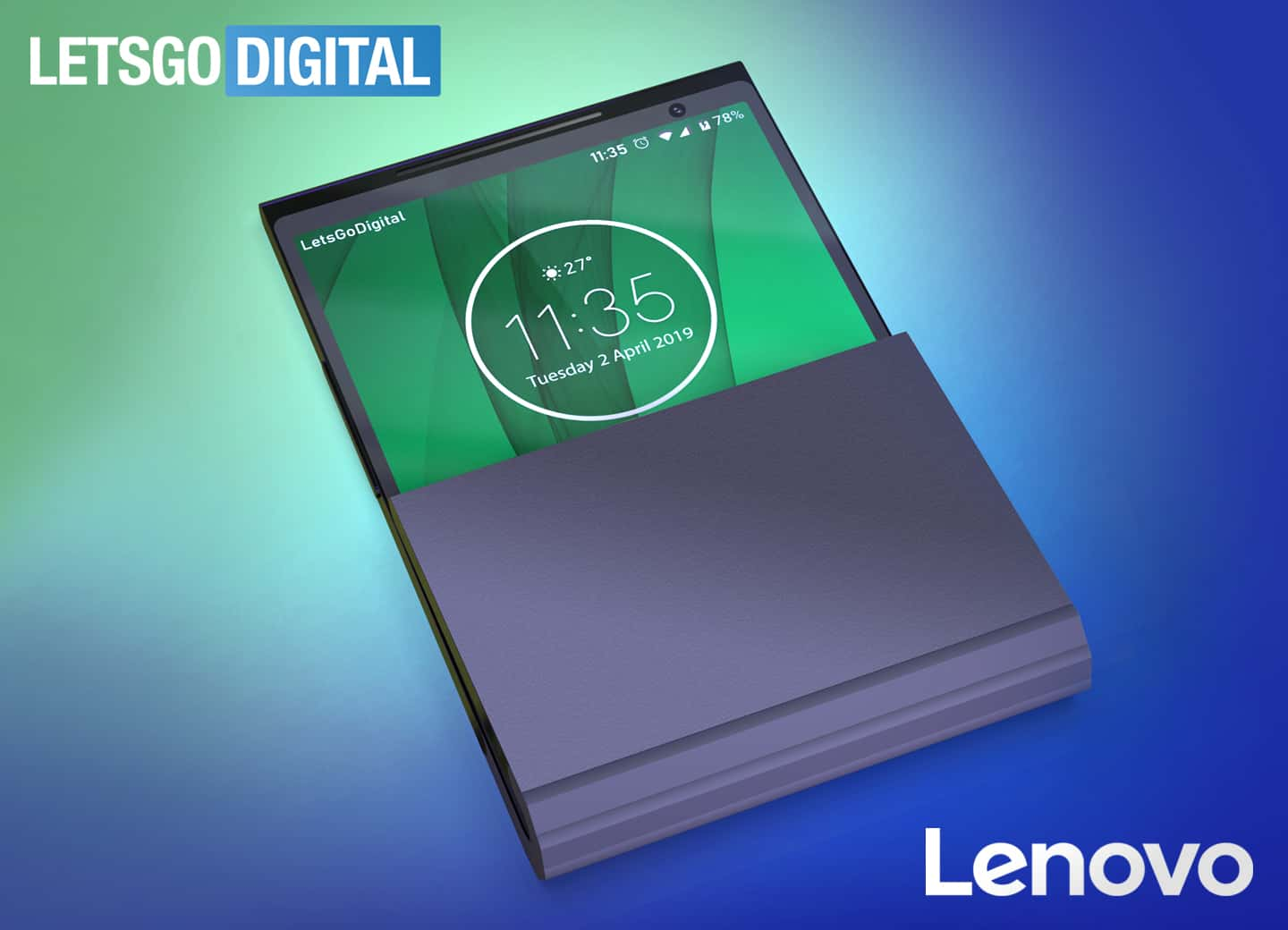Lenovo foldable smartphone with two hinges patent 1 old design