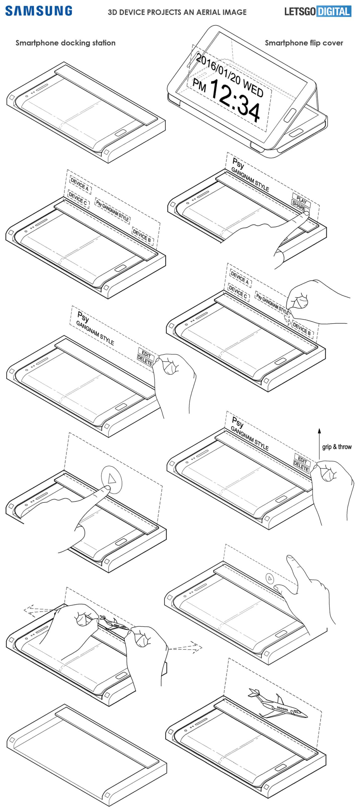 Samsung Hologram Dock patent drawings