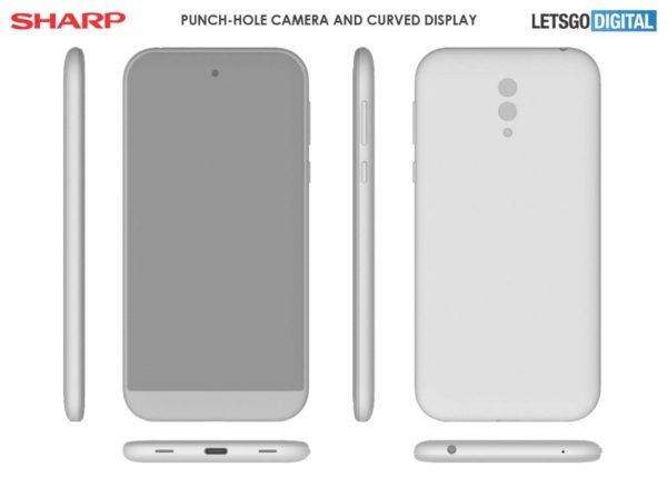 sharp smartphone punch hole camera patent