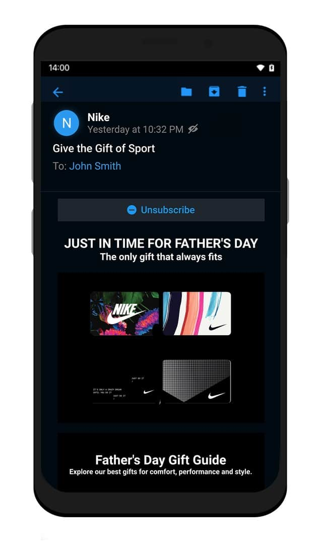 Edison Mail Android Dark Mode Email Detail
