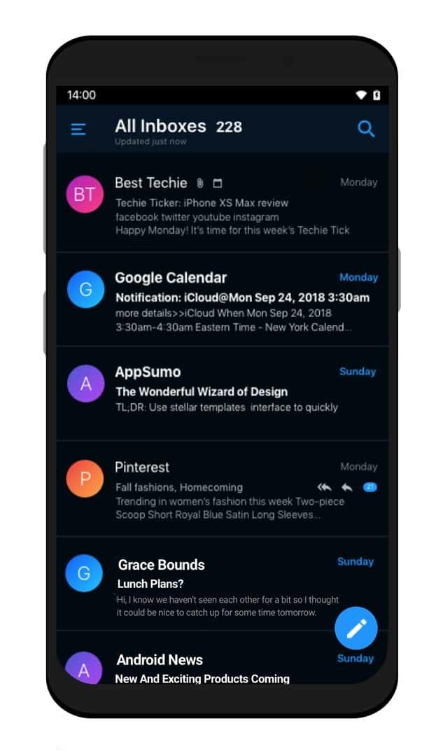 Edison Mail Android Dark Mode Inbox