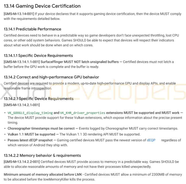 Google Gaming Device Certification Program