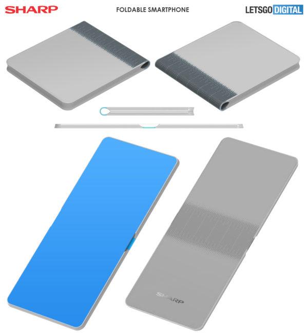 Sharp bezel less foldable phone patent 1