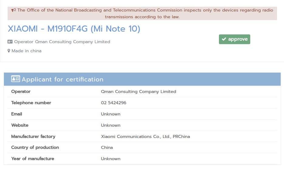 Xiaomi Mi Note 10 Thailand certification