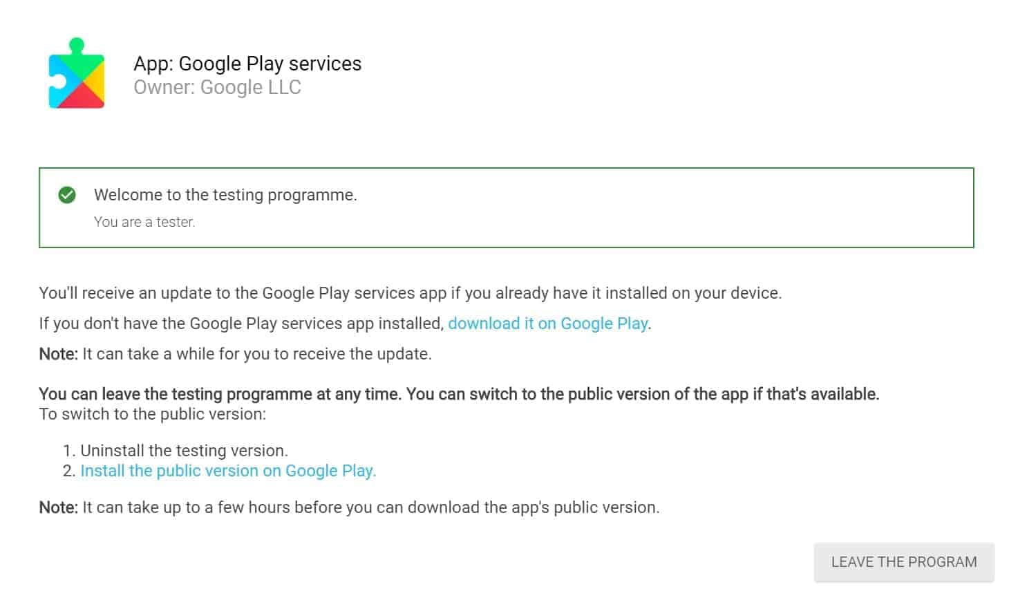 Google Play Services leave beta