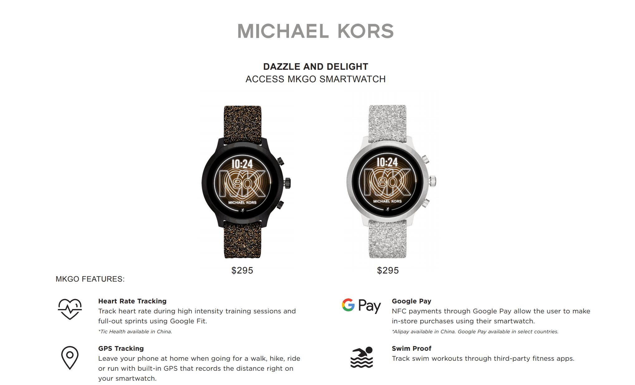 Michael Kors Access MKGO Swarovski crystal