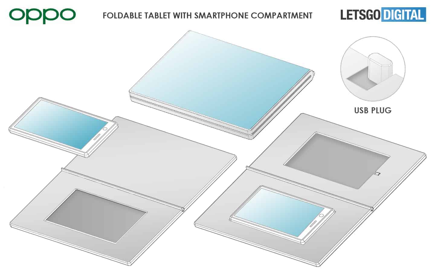 OPPO foldable tablet with smartphone dock patent 4