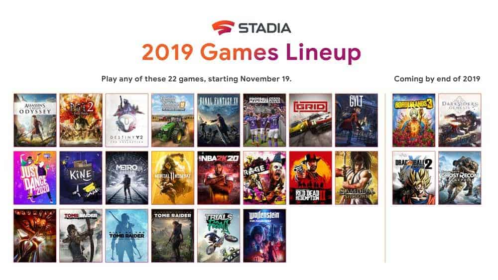 Stadia Launch Lineup