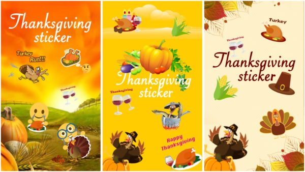 Thanksgiving Day Emoji Sticker app collage
