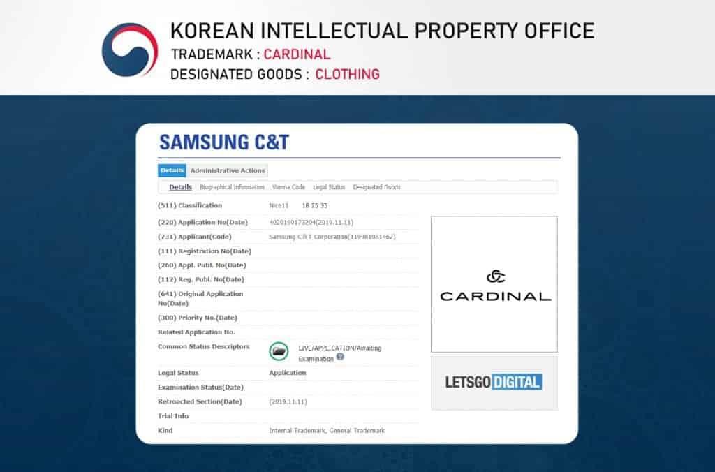 samsung cardinal trademark