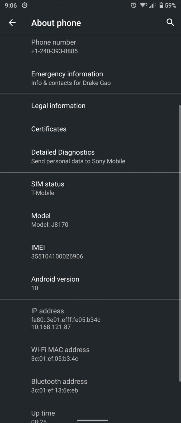 Android 10 Xperia 1 update