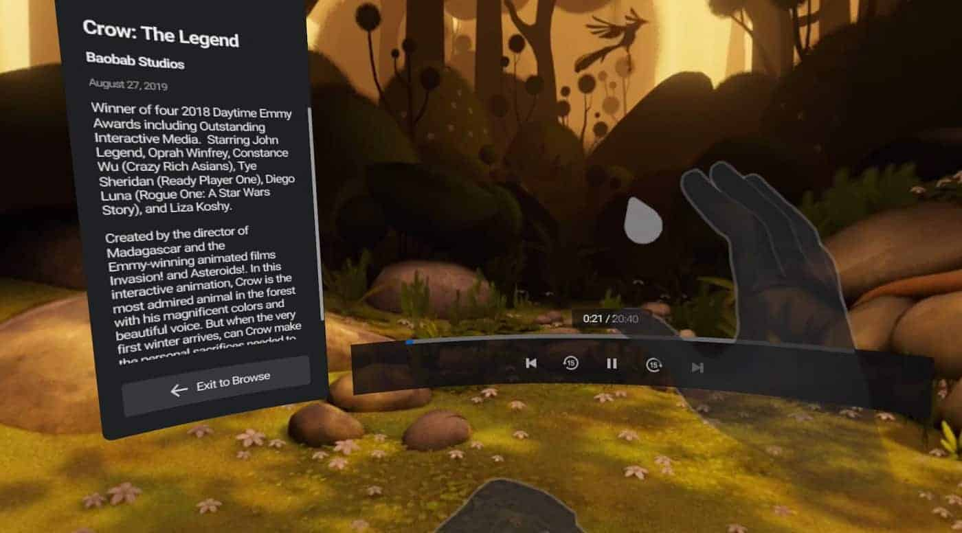 Using hands as controllers on the Oculus Quest TV app