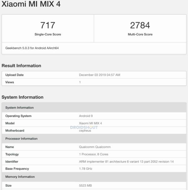 Xiaomi Mi MIX 4 Geekbench