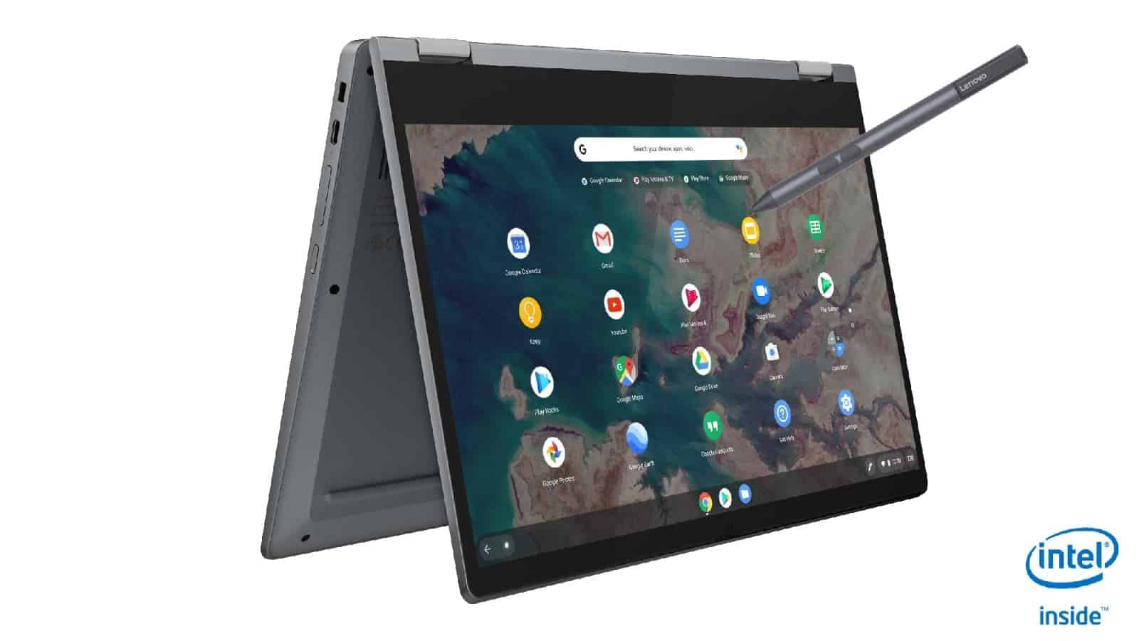 17 IdeaPad Flex 5 Chromebook 13 Graphite Grey Right Tent Mode with Pen