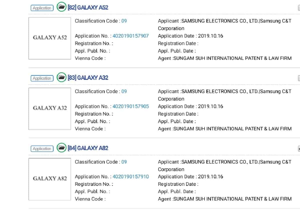 Galaxy A phone trademarks January 2020 image 3