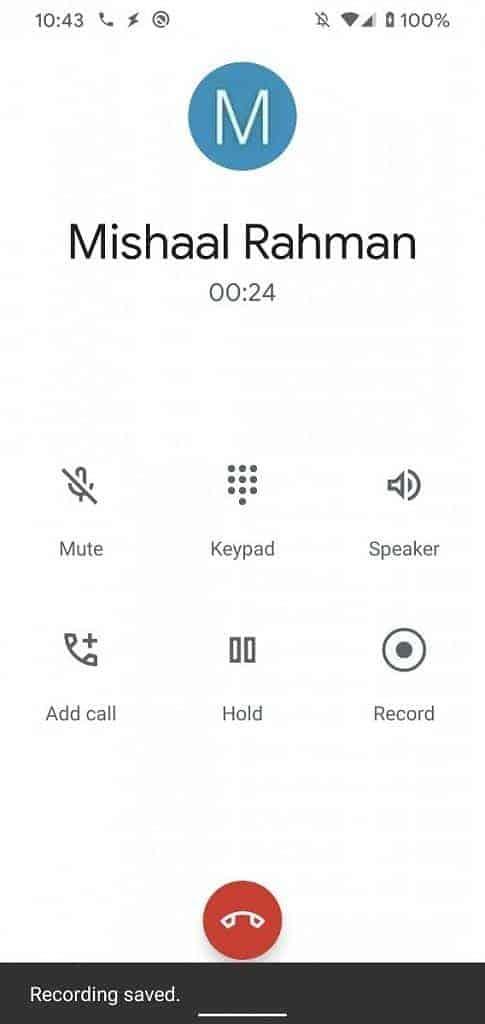 Google Phone Call Recording on Pixel 3