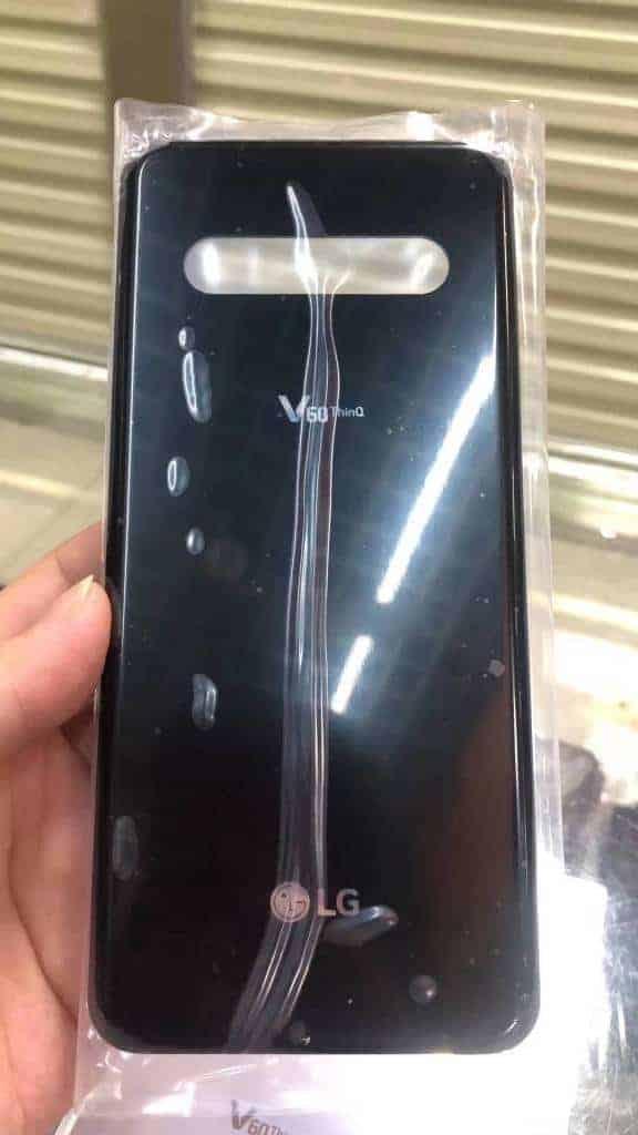 LG V60 ThinQ black glass back leak 1